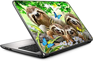Sloth Family Selfie - 15 inches 15.6 inches Custom Fit Made to Order Laptop Notebook Skin Vinyl Sticker Cover Decal Fits HP Lenovo Apple Mac Dell Compaq Acer