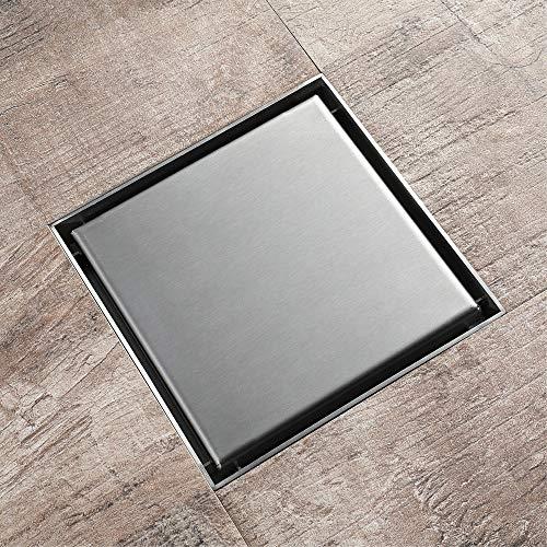 PIJN Bodenablauf Gebürstetes Badezimmer Balkon Drainage Bodenablauf Edelstahl-Quadrat (Color : Metallic, Size : 100x100x35mm)