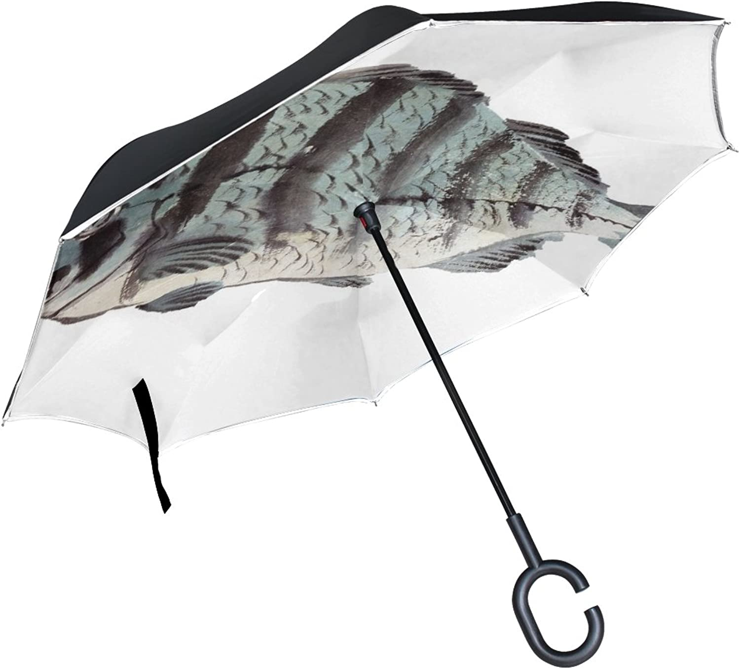 Double Layer Ingreened Fish Isolated White Art Vintage Umbrellas Reverse Folding Umbrella Windproof Uv Predection Big Straight Umbrella for Car Rain Outdoor with CShaped Handle