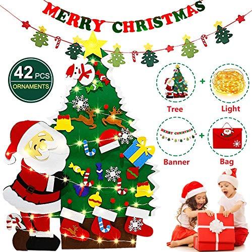 HOTOOLME Filz Weihnachtsbaum mit LED Lichter, Weihnachtsbanner, 42 Stück Abnehmbare Ornamenten und Geschenktüte Lagerung, Kinder Weihnachten Geschenk DIY Weihnachtstür Wandbehang Dekoration (4ft)