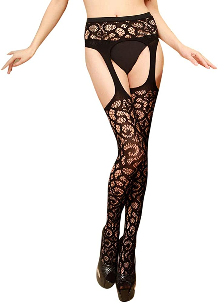 ZZpioneer High Stockings for Women Sexy Hosiery Suspender Tights Black Fishnet Stockings Pantyhose