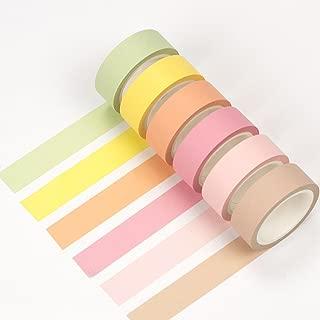 Max Corner Plain Pastel Washi Tape Pack 12 Rolls Set, Masking Tape for Scrapbook, Multicolored Decorative Tapes Crafts Supplies