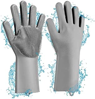 Madison Reusable Dishwashing Scrubber Silicone Gloves with Bristles in 4 colors│1 Pair Gloves - Heat Resistant │Scrubber H...