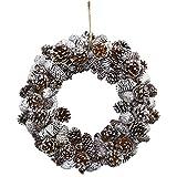 Nearly Natural 4553 Snowy Pine Cone Wreath,White,18'' x 5'' x 18''