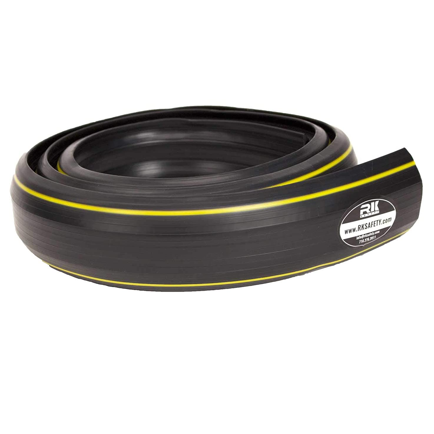 RK Safety 6.5 Feet in Length Heavy Duty PVC Floor 3 Cord Protector -Durable Black PVC Cover- Great for The Home, Office, Warehouse or Concerts - Easy to Unroll and Open (Black)