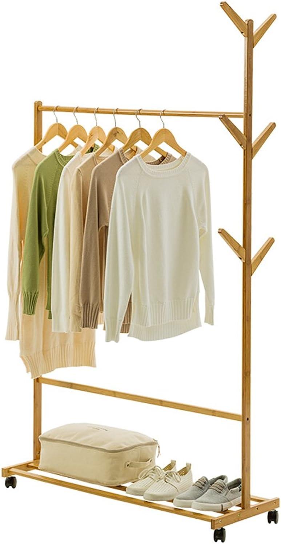 Coat Racks Floor Standing Hat and Coat Rack Clothes Hat Tree Stand Hanger Wooden Shelves Multilayer Storage for Bedroom Pulley 6 Hooks GAOFENG (color   60CM)