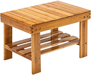 Cypress Shop Shower Bench Stool Bamboo Wood Bath Seat Stream Sauna Chair Bathtub Stool Seat with Shelf Rack Safety Bathing Showering for Bathroom Living Room Bedroom Home Furniture