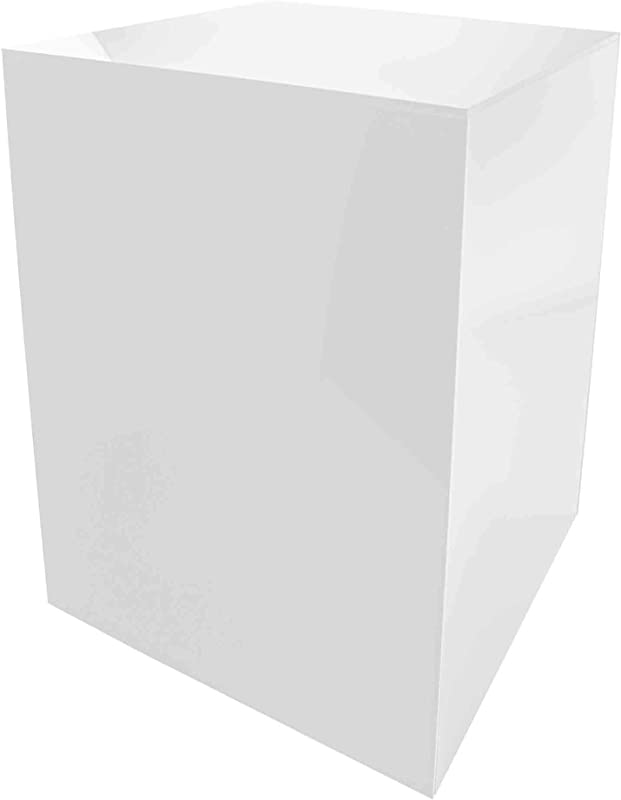 Marketing Holders Platform Display Box Art Sculpture Pedestal Collectible Cube Cover Trophy Trinket Acrylic Showcase Stand Expo Event Wedding Reception 5 Sided 12 W X 16 H X 12 D White Pack Of 1