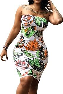 Chellysun Women Strapless Tube Dress Leaf Printed Bodycon Midi Dress Bandeau Dress