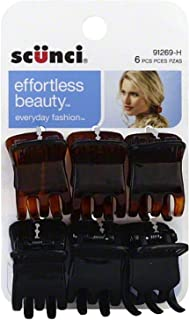 Scunci Effortless Beauty Everyday Fashion Mini Jaw Clips 6 ea (Pack of 3)