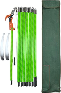 HiHydro 26 Foot Tree Trimmer Pole Manual Pruner Cutter Set Extension Cut Tree Branch Garden Tools Loppers Hand Pole Saws