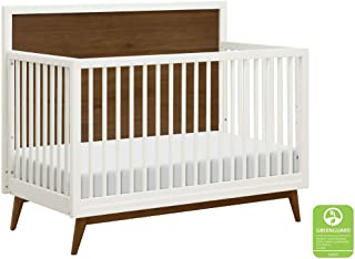 Babyletto Palma 4-in-1 Convertible Crib, White/Natural Walnut