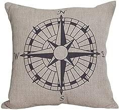 Huacel Throw Pillow Case, Cotton Linen Square Decorative Throw Pillow Case Cushion Cover 18 x 18 Nautical Compass
