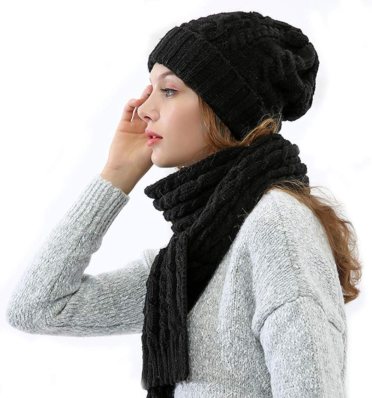 Women's Autumn and Winter Scarf hat TwoPiece Thickening Plus Velvet ski Student Wild Knit hat (color   Black)
