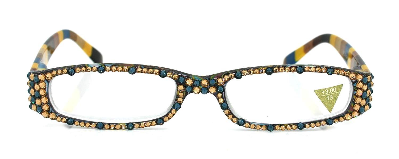 Elsa Cheap mail order shopping Full sale Bling Crystal Narrow Reading Adorned w Glasses Women