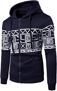 Elogoog Shirt for Men, Casual Long Sleeve Geometry Printed Sweatshirt Zipper Hoodie Pullover (Black, L)