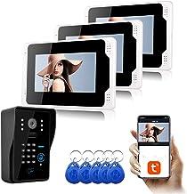 7 Inch Video Deurbel, Intercom, RFID Wachtwoord Home Security Video Deurtelefoon, 3 Monitor Display + 1080P Nachtzicht Camera
