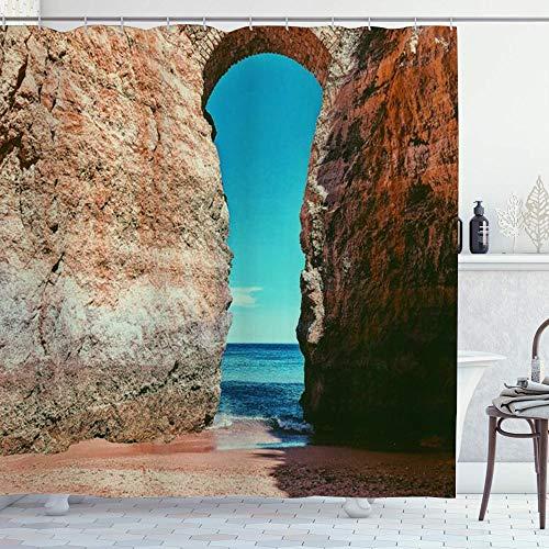ZORMIEY Duschvorhang,Wand Algarve Landschaft Wahrzeichen Strand Lagos Portugal Schloss Big Sky Naturparks Eingang im Freien,Vorhang Hochwertig Bad Vorhang Wasserdichtes Design,mit Haken 180x180cm