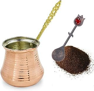 Turkish Coffee Pot: Copper Cezve Coffee Pot for Turkish Coffee   Ibrik Arabic Stovetop Coffee Pot with Handle   Handmade O...