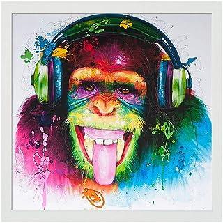 LangGe Poster di Arte Moderna Stampa su Tela Quadri Colorati Animali Scimmia Stampa su Tela Quadri per Soggiorno Immagini per pareti 40x50cm con Cornice