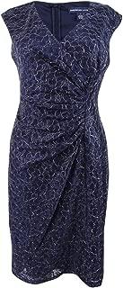Womens Metallic Lace Cocktail Dress