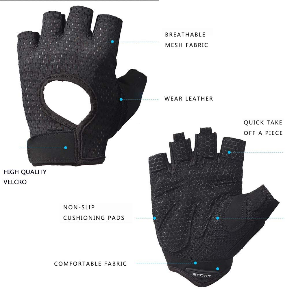 LeerKing Cycling Gloves Gym Non-Slip Gloves Workout Training Gloves Fingerless Shock-Absorbing Breathable Pole Dance for Men /& Women