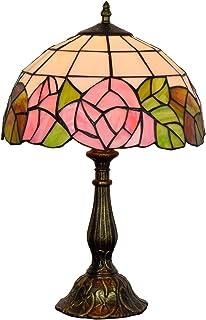 QGL-HQ Rose européenne Chambre de Chevet Vintage Lampe de Table Tiffany Art Glass Shop American Restaurant Lampe de Table...