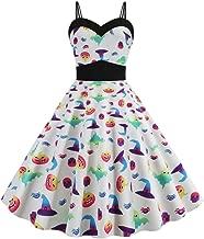 Women Halloween Audrey Hepburn Vintage Pumpkin Sleeveless Empire Waist Ball Gown Flared Swing Halter Strap Pleated Dress