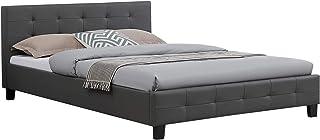 IDIMEX Lit Double pour Adulte Mathieu Couchage 140 x 190 cm avec sommier 2 Places / 2 Personnes, tête et Pied de lit capit...