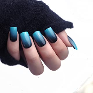 24pcs 12 Different Size Simple Gardient Blue Black Medium Length Square Full Cover False Nails with Design