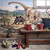 Weaeo Dinosour Welt 3D Cartoon Wallpaper Wandbild Für Baby Kind Zimmer Hintergrund 3D Wandbild Wandpapier 3D Cartoon Aufkleber-280X200Cm