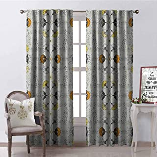 Gloria Johnson Grey and Yellow Wear-Resistant Color Curtain Ethnic Paisley Style Flowers Ivy Swilrs Leaves Image Waterproof Fabric W52 x L72 Inch Marigold Black and Pale Grey