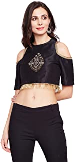 d914e87c7a4 studio rasa Semi-Dupion Embroidered Cold Shoulder Crop Top