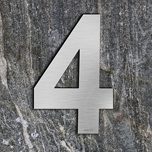 qoboob® Edelstahl Hausnummern 4 Vier Straße Nummer Fein gebürstet Silber 200mm (1 Stück)