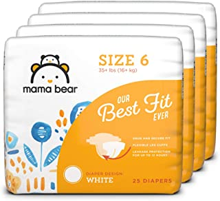 Amazon Brand - Mama Bear Best Fit Diapers Size 6, 100 Count, White Print (4 packs of 25) [Packaging May Vary]