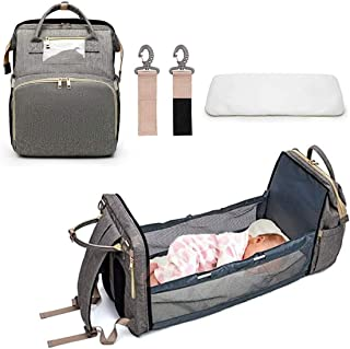 Bingcute 3 In 1 Travel Foldable Baby Bed, Portable Diaper Changing Station Mummy Bag Backpack, Portable Bassinets For Baby...