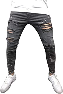 Seaintheson Mens Jeans, Men Skinny Stretch Denim Pants Distressed Ripped Vintage Slim Fit Hip Hop Work Biker Trousers
