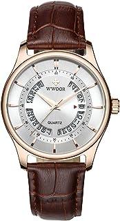 ساعة يد رجالي من WWOOR بسوار جلدي ساعة يد رياضية كوارتز كوارتز كوارتز كوارتز ساعة عصرية عادية للرجال