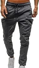 Mens Drawstring Classic Joggers Pants Zipper Big Pockets Sport Sweat Pants