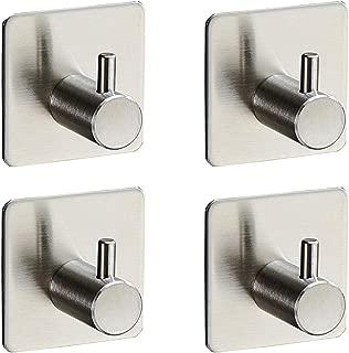 4-Pack Robe/Towel Hook Self Adhesive SUS 304 Stainless Steel Brushed Nickel Bathroom Kitchen Organizer