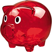eBuyGB Transparent Plastic Piggy Bank / Money Box (Red)