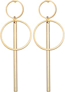 Geometric Drop Earrings Women Vintage Big Round Gold Color Heart Letter Love Earrings Female Jewelry
