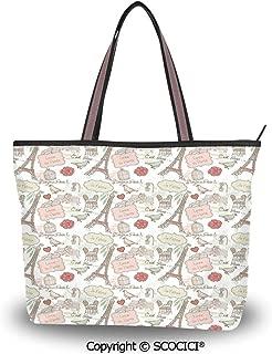 SCOCICI Tote Bag Oversized Shoulder Handbag Purse Paris,French Pop Culture Love