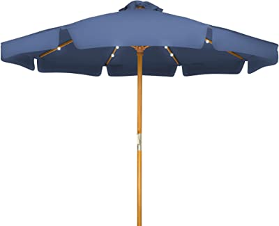 9' Solar Powered LED Lighted Wood Frame Patio Umbrella - with Scalloped Edge Top - by Trademark Innovations (Blue)
