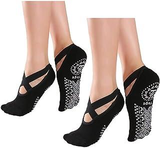Alitopo, Calcetines antideslizantes de yoga para mujer, calcetines antideslizantes de pilates para mujer, calcetines de ballet con puños de barra