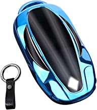 For Model 3 Key Fob Cover Tesla Model 3 Key Special Soft TPU model 3 key shell Model 3 Key Case Cover Protector Metallic Feel Durable Beautiful Appearance Lightweight and Durable Fit to Tesla Model 3 Key Model 3 Accessories red)