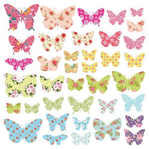 DECOWALL DS-8005 Mariposas con Dibujos Vinilo Pegatinas Decorativas Adhesiva Pared Dormitorio Salón Guardería Habitación Infantiles Niños Bebés (Pequeña)