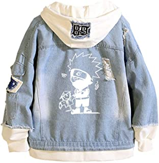 Gumstyle Naruto Anime Denim Hoodie Jacket Adult Cosplay Button Down Jeans Coat