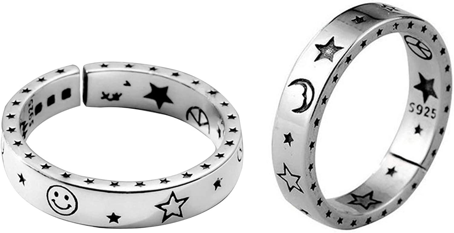 Mcmrsoul Smile Face Moon Star Ring F for Adjustable A surprise price is realized Many popular brands Couples Open