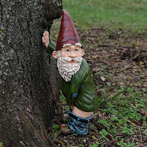 15cm Nain de Jardin Nu Humour Statue GNOME de Jardin Polyrésine Nains de Jardin Decoration pour Exterieur (B)